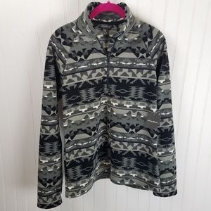 Eddie Bauer Gray Aztec 1/4 Zip Fleece Sweatshirt